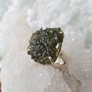 Natural Moldavite Rings