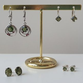 Polished and Faceted Moldavite Earrings