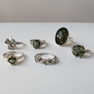 Polished and Faceted Moldavite Rings